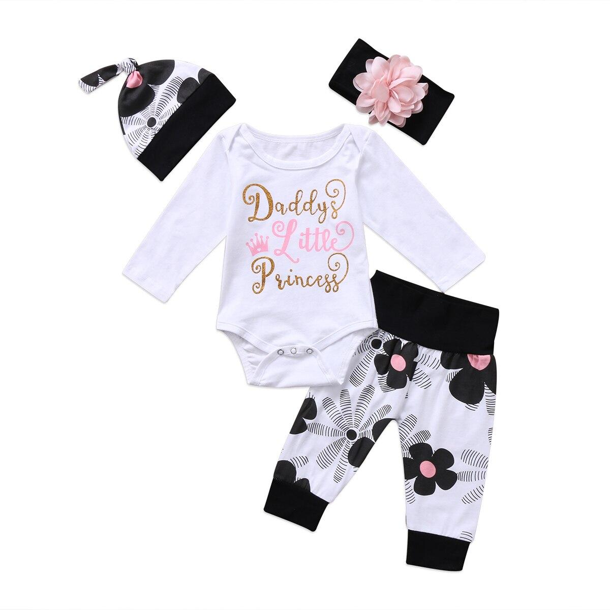 4 Uds niños recién nacidos ropa de bebé niña ropa Floral algodón mono estampado letra Romper pantalones traje 0-24m