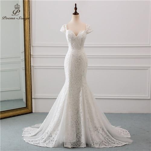 New style cap sleeve style lace wedding dress 2020 wedding Vestido de noiva Mermaid wedding dresses robe de mariee