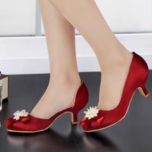 Woman Shoes EP100114 Burgundy Round Toe Pearls Rhinestone Bow Low Mid Heel Satin Bride Bridesmaid Wedding Evening Bridal Pumps
