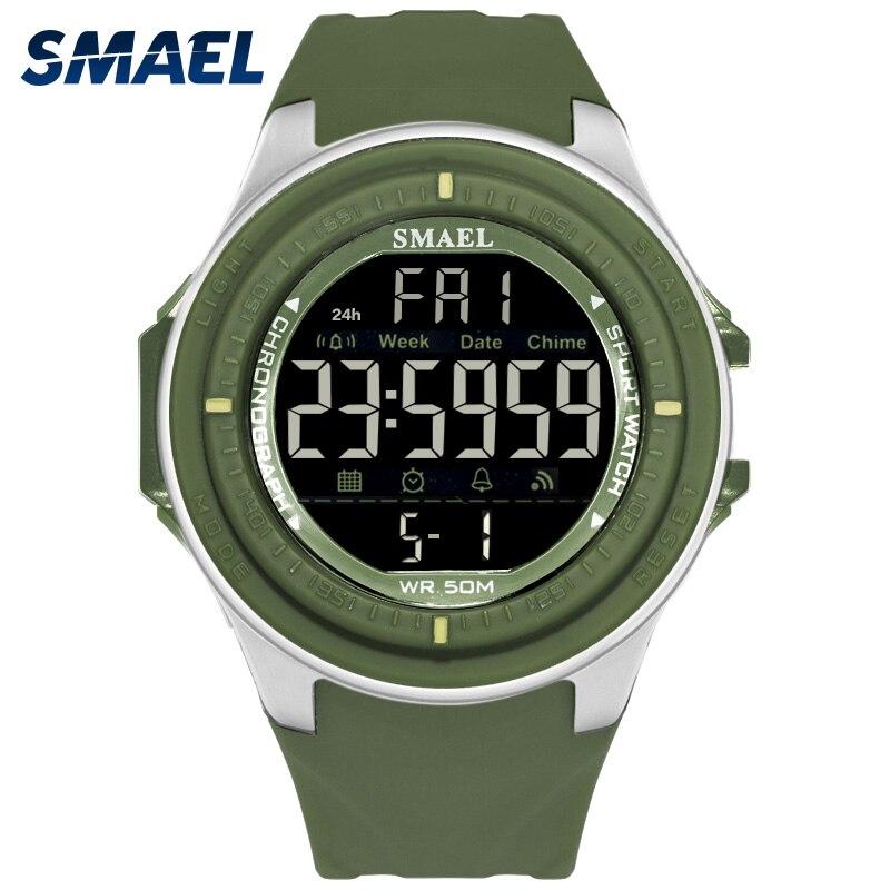 SMAEL Brand Men's Watches LED Digital Watch Men Wrist Watch 5Colors Alarm 50m Waterproof Sport Watches For Men Relogio Masculino