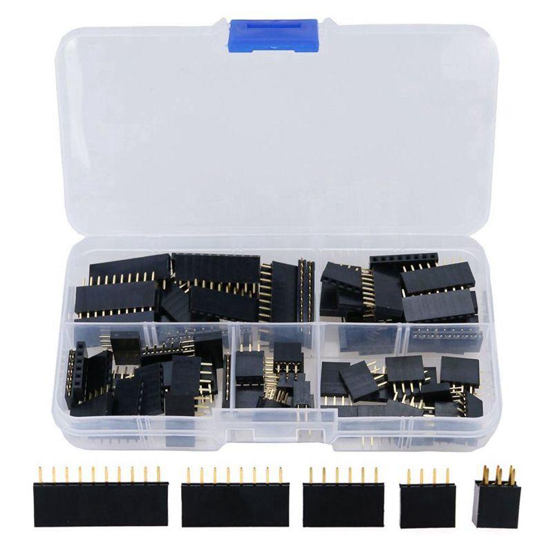 90 Uds 2,54mm para Arduino Kit de surtido de pines hembra escudo apilable (doble fila 3/4/6/8/10 pines)