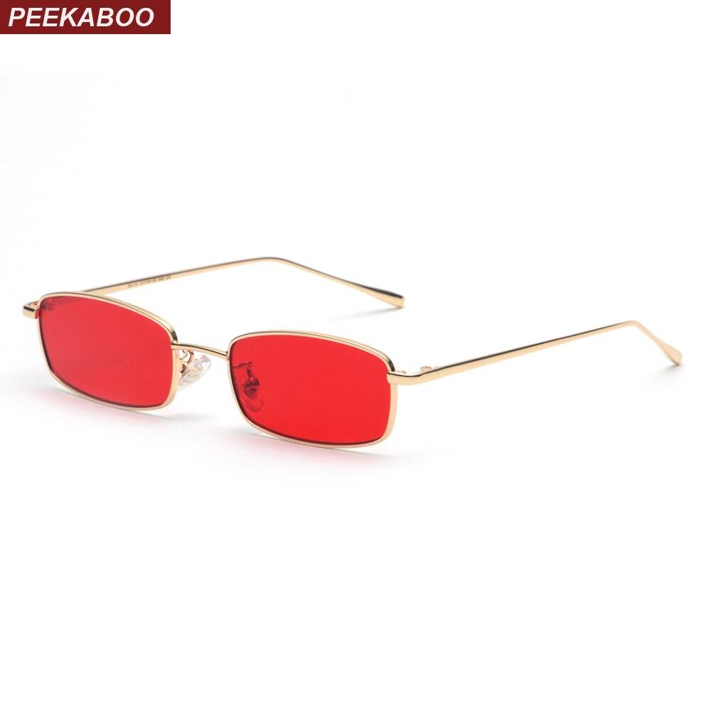 Солнцезащитные очки peekabo, маленькие прямоугольные очки для мужчин и женщин с красными линзами, желтые, в металлической оправе, прозрачные линзы, унисекс, uv400, 2019
