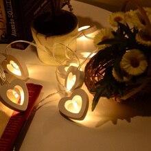 10 luces LED de cuerda lámpara de madera con forma de corazón para Festival Fiesta boda decoración del hogar LB88