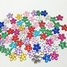100pcs 12MM Shiny Flower Gems Flatbacks Embellishments DIY Phone Nail Decorations Crafts 11 Colors