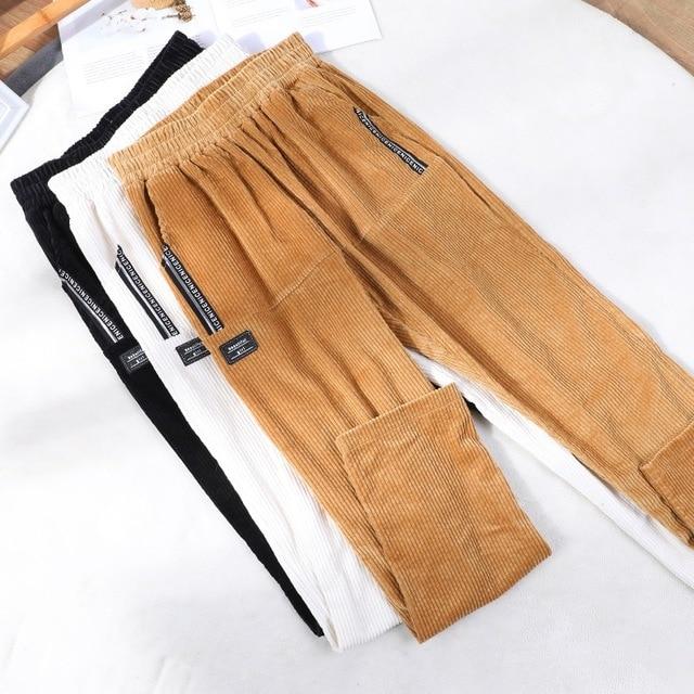 Fashion Corduroy Women Casual Pants 2021 Autumn Winter Elastic High Waist Harem Pants Streetwear Poc