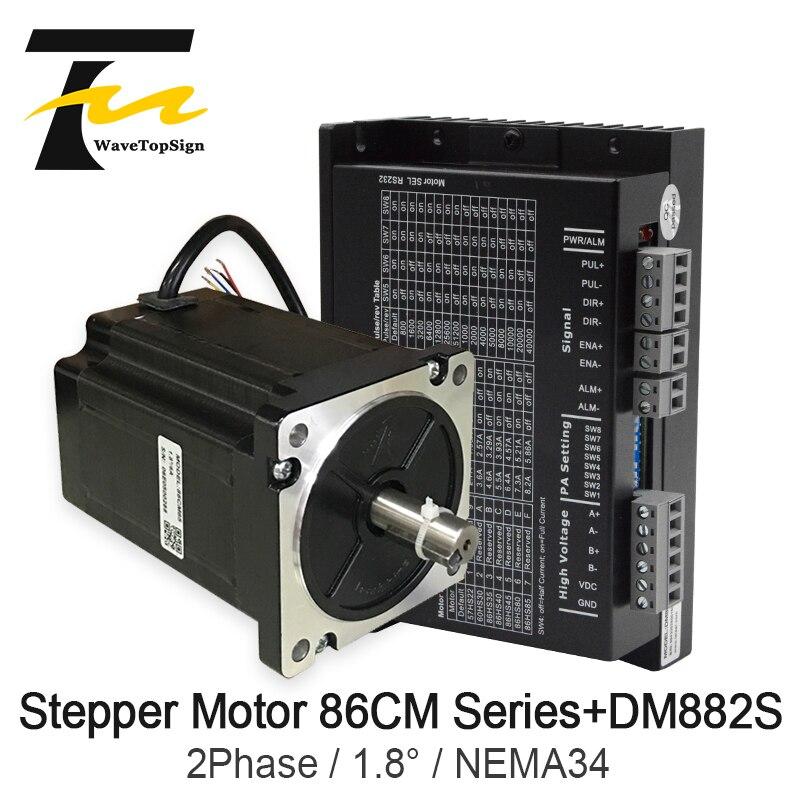 Leadshine 2 Phase 86 Series NEMA34 Step Motor Sets 86CM35 86CM45 86CM80 86CM85 86CM120 + Driver DM882S input Voltage VDC36-80V