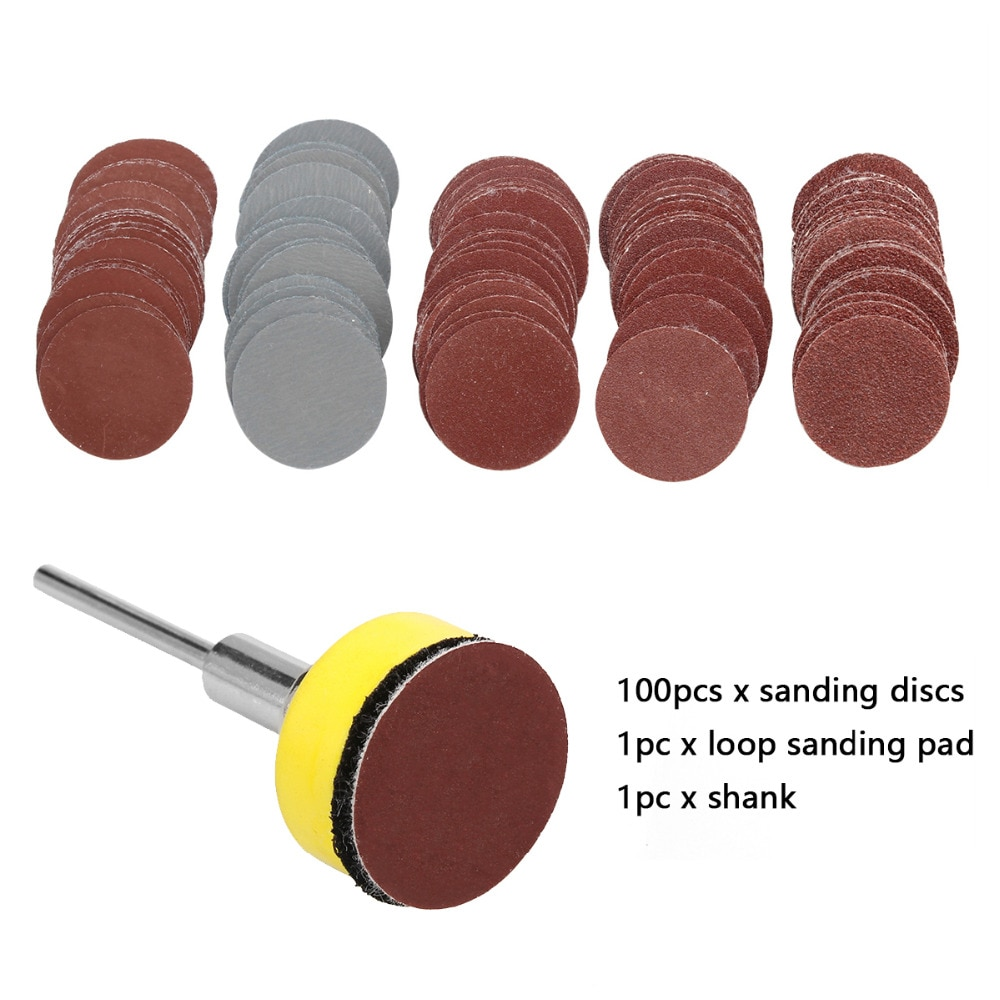 Discos de lijado de 100 Uds. De 25mm + gancho abrasivo de 1 pulgada y placa de respaldo de bucle + juego de vástago de 1/8 pulgadas para herramientas de pulido