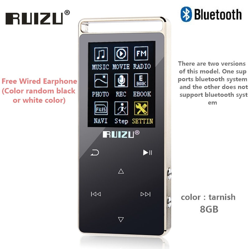 Original RUIZU D01 bluetooth MP3 Player 8GB Touch Screen 1.8 Inch Voice recorder FM E-Book Clock Video USB MP3 Music Player