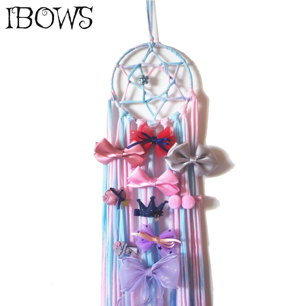 Rainbow Dream Catcher Net Hair Bows Holder Home Hairpin Barrette Storage Belt For Girls Boutique Hair Clip Organizer Accessories