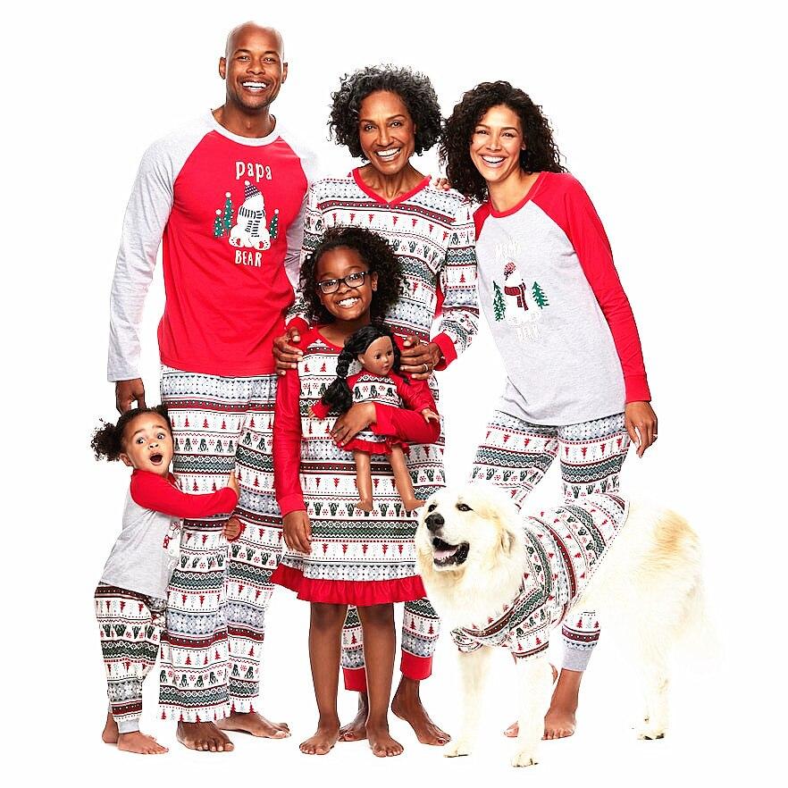 Family Christmas Pajamas Set Xmas Parent-child Printed Red Nightwear Pjs Set Adult Kids Baby Long Sleeve Sleepwear Pyjamas Set