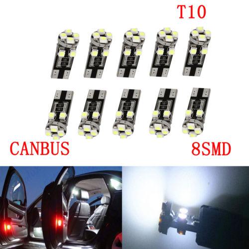 10 Lampade Led T10 Canbus 8 SMD 3528 No Errore Luci BIANCO Lampadine