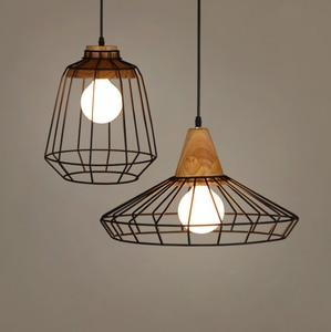 Retro Indoor Led Pendant Lights Wrought Iron Cage Wooden Hanging Lamp Kitchen Room Bar Hanging Lamp Fixture Restaurant Luminaire