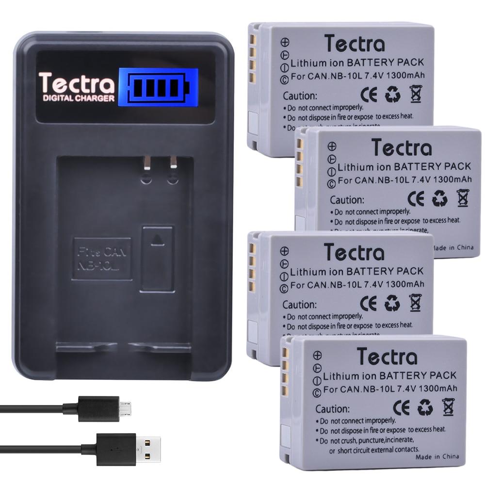 Tectra 4 Pcs NB-10L NB10L Bateria Da Câmera + Carregador USB LCD para Canon G15 G16 G1X SX40HS SX50HS SX40 SX50 SX60HS HS