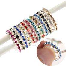 En gros 12 pièces/lot 1 rangée cristal pied anneaux pour les femmes chaîne strass cristal Stretch pied orteil anneaux bijoux de mode