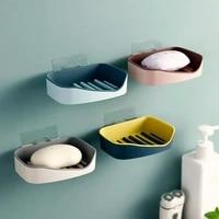 Porte-savon mural Double couche sans percage  eponge a savon  accessoires de salle de bains  plats a savon auto-adhesifs