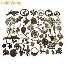 Julie Wang 10 шт случайно смешанные птицы цветок в форме листьев амулеты античные цвета ожерелье браслет ювелирные изделия аксессуары