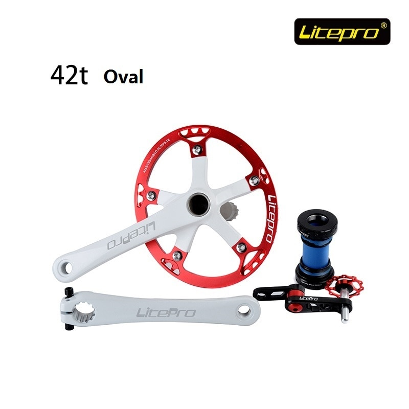 Oval Disk Suit Litepro 42T Plus or minus 3 Integrated type Road Crank Chain wheel With Axis and Pull  tools Folding Bike