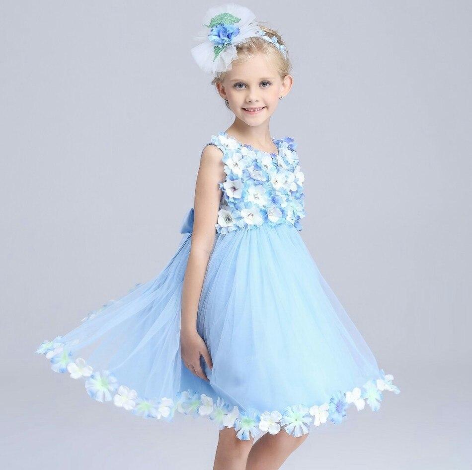 High-end Personalizado de Casamento Meninas Vestido de Princesa Flor Tridimensional Broca Completo Arco Colete Vestido de Flores Malha