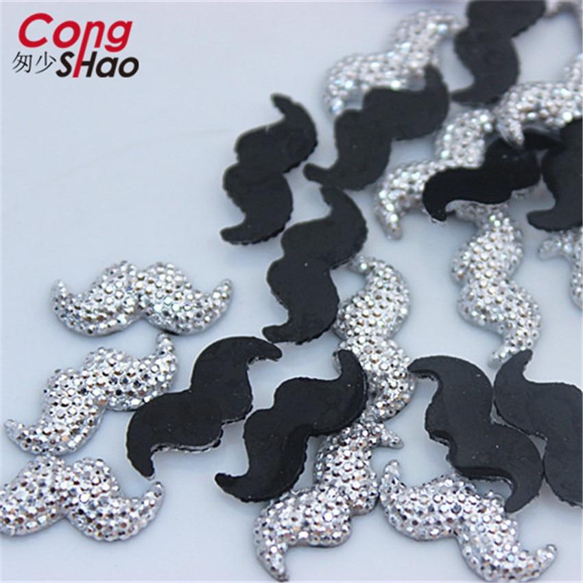 Cong Shao 200 Uds. 7,5*16,6mm resina Rhinestone piedras Flatback barba Beads botón resina accesorios CS115A
