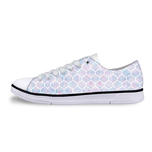 Women Classic Vulcanize Shoes Rainbow Pastel Watercolor Moroccan Pattern Printing Casual Low Style Canvas Shoes Mujer Zapatillas