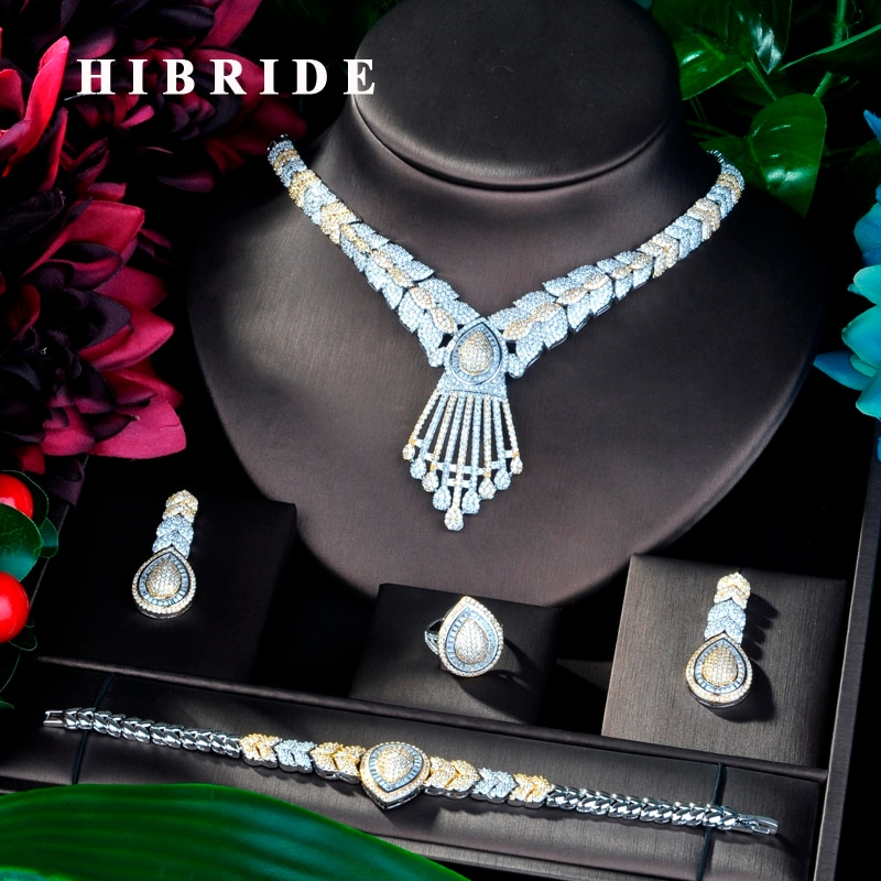 HIBRIDE Fashion New Luxury Jewelry Cubic Zircon 4 pcs Wedding Bridal Jewelry Set Copper Dubai Jewelry For Ladies N-857