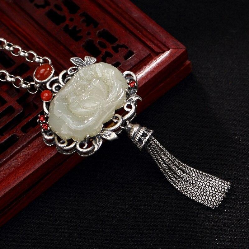 Plata S925 plata pura mosaico antiguo y Jade blanco jade Sur rojo loto borla de mariposa señora colgante al por mayor