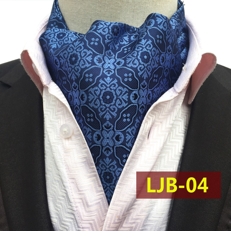 Fashion Design Men Ties Luxury Blue Floral Paisley Ascot Vintage British Style Jacquard Woven Ascots for Adult