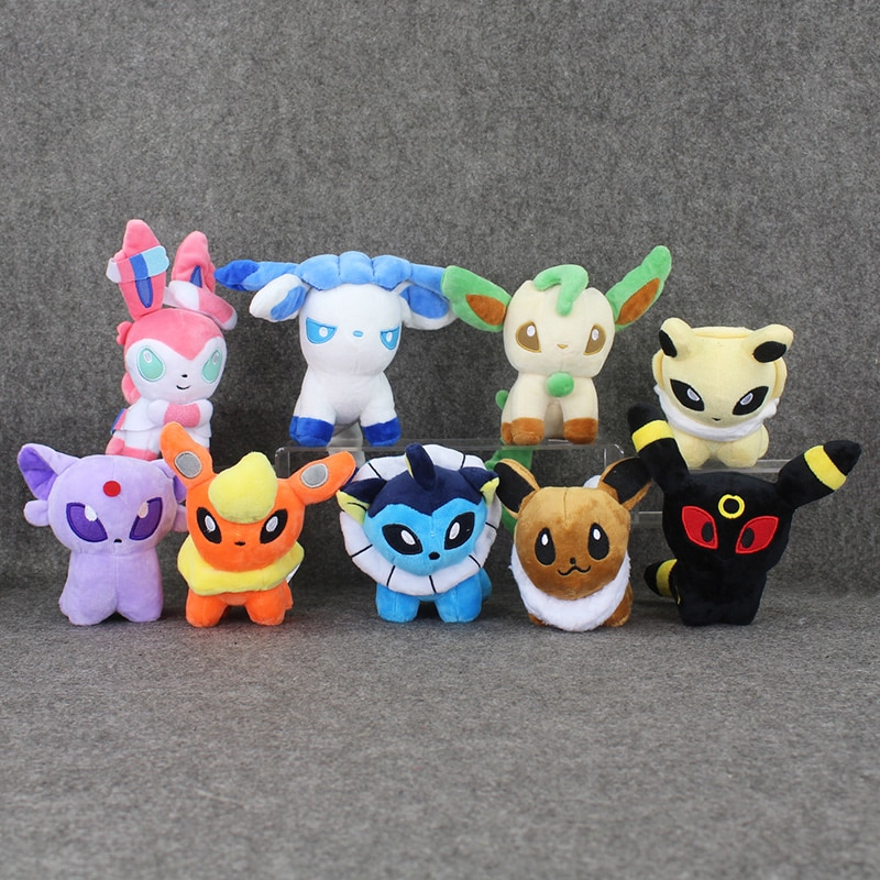 Q versión Pokemon de peluche de felpa muñecas 12cm Glaceon Leafeon umbreon espeon Jolteon Vaporeon Flareon Eevee juguete de sylveon para niños