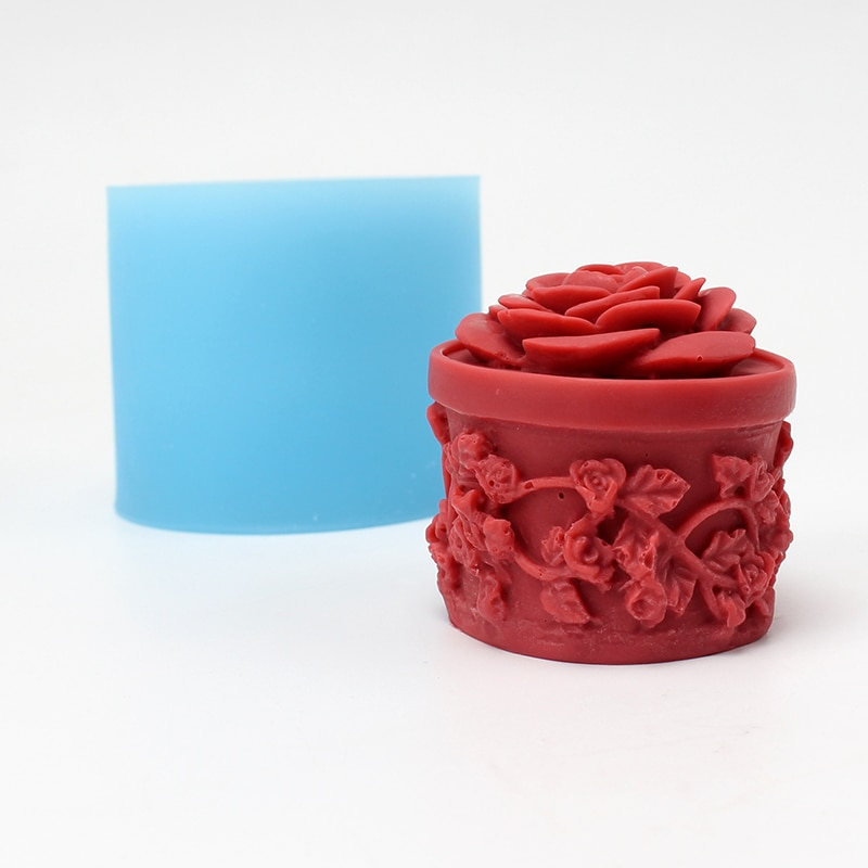 Molde de silicona para jabón cilíndrico con relieve hecho a mano, molde de resina para dulces