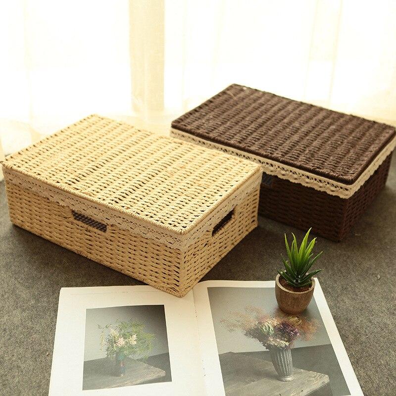 Corda de papel tecido caixa de armazenamento com tampa rendas artesanais casa artigos diversos acabamento recipiente roupas organizador caixa mx01171843