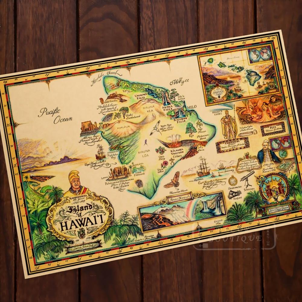 Hawaii  Tropical Map Living Classic Vintage Retro Kraft Decorative Poster Maps Wall Canvas Sticker Home Bar DIY Posters Decor