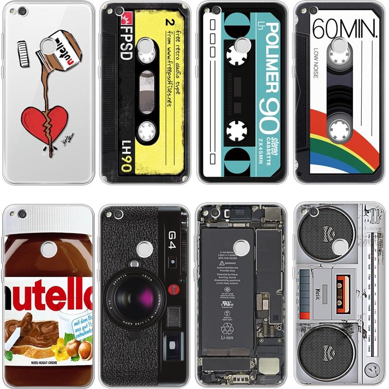 Grabadora de cinta para iPhone 4X4 4S 5 5S 5C SE 6 6 S 6 6 S 7 8 Plus para Huawei P8 P9 P10 P20 Honor 7A Pro Mate 10 Lite 2017 caso