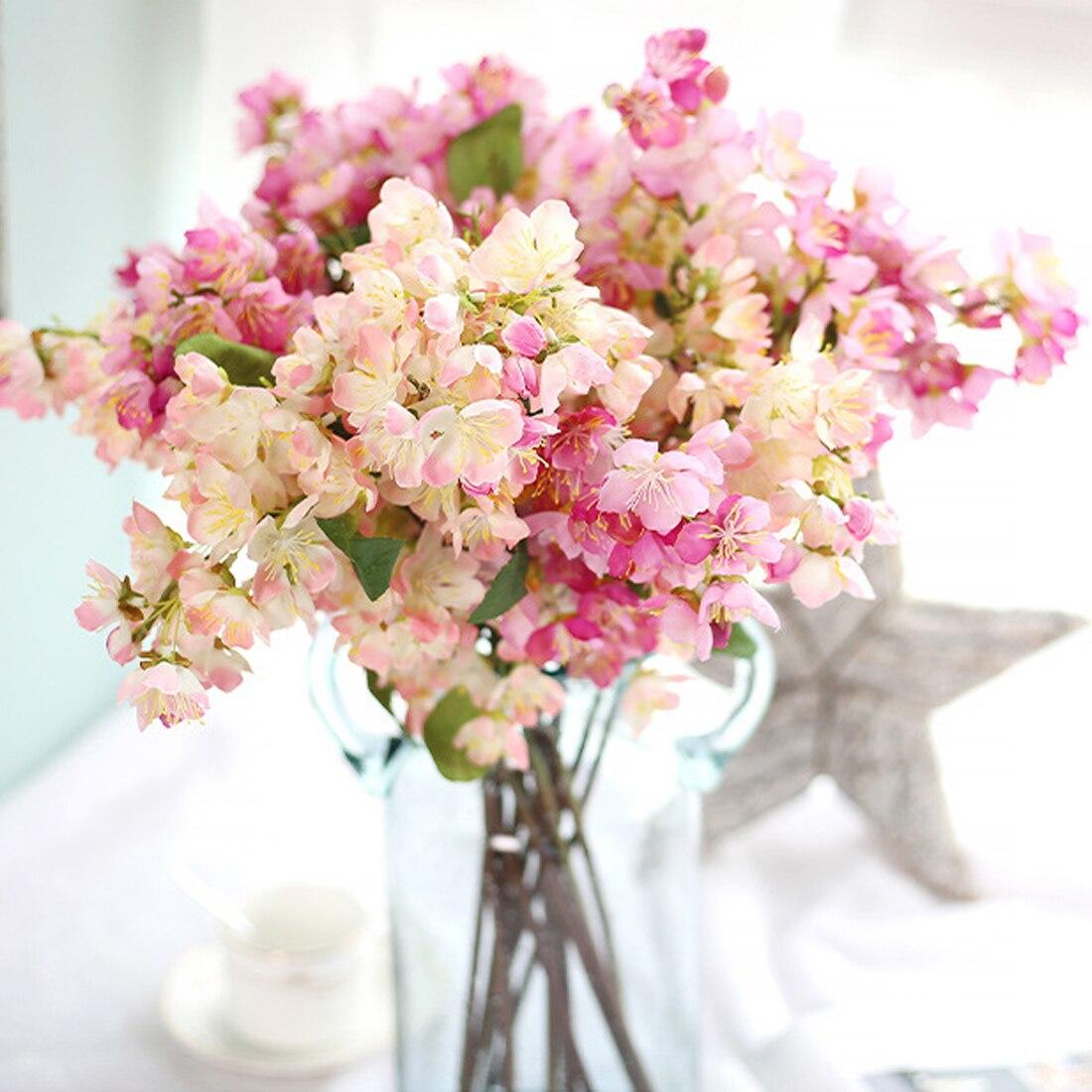 52,5 cm japonés Sakura flor Artificial Cerezo flor ramo brillante flores falsas deseo árbol boda fiesta en casa Decoración