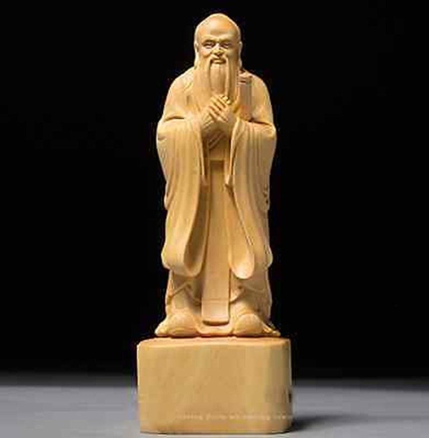 Figura tallada boj chino Confucio Kong Zi pensador educador antigua gran figura