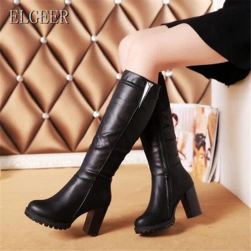 Botas altas ELGEER ms para otoño e invierno, nuevas y gruesas con tubo alto, botas informales de moda para mujer, además de zapatos cálidos de terciopelo para mujer