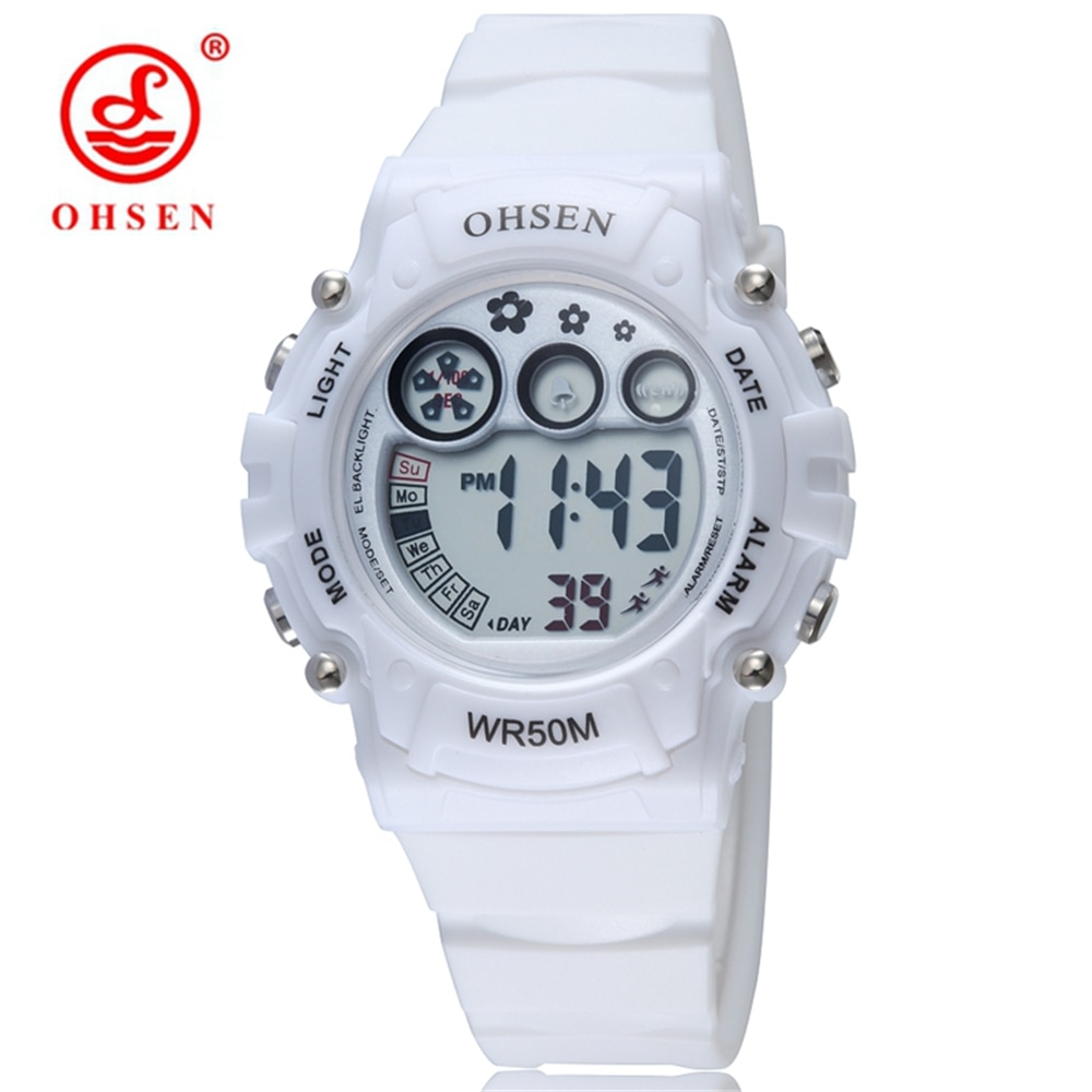 ¡Oferta! Reloj deportivo OHSEN para mujer con correa de plástico de 50M, relojes digitales LED para buceo, relojes impermeables de Color gelatina para mujer
