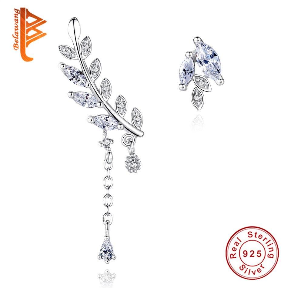 Женские серьги-пусеты в форме листа, серьги-пусеты с манжетами из стерлингового серебра 925 пробы AAA + CZ, ювелирные изделия на Рождество