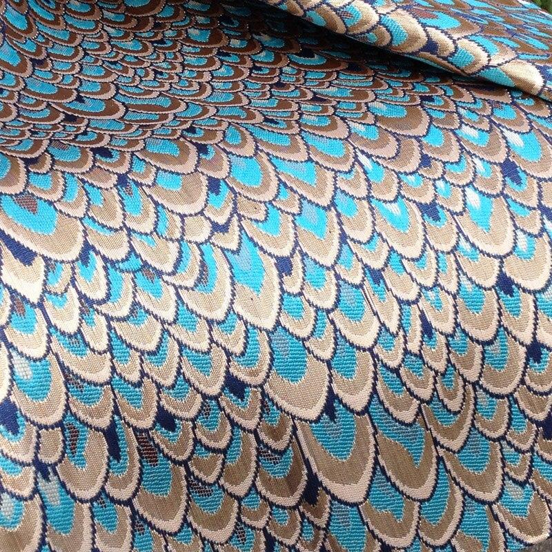 Tissu africain brillant de Tissu de brocart de Jacquard de paon pour la robe, matériaux de bricolage Tissus Telas, Tecido métallique de couture dhabillement