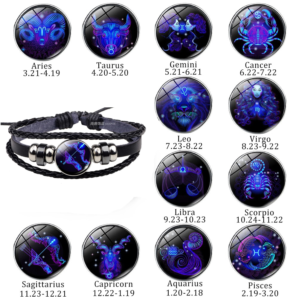 Pulsera de cuero trenzado de cuerda negra con 12 Constelaciones, pulsera del Zodíaco, Cáncer, Leo Virgo, Libra de Escorpio para hombres y mujeres