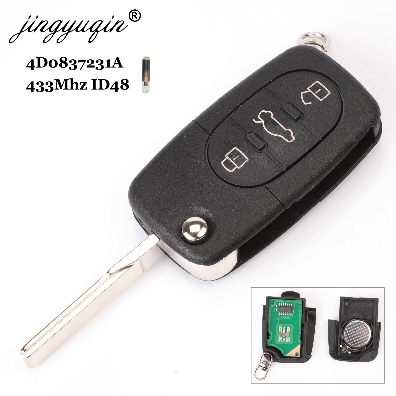 Jingyuqin 4D0837231A 433Mhz ID48 3 Taste Auto Remote Schlüssel für AUDI Flip Falten Chip für A3 A4 A6 A8 alte Modelle