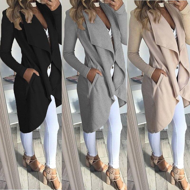Nuevo abrigo Irregular de otoño para mujer, abrigos delgados de Color sólido, chaquetas, abrigo largo Casual, cortavientos