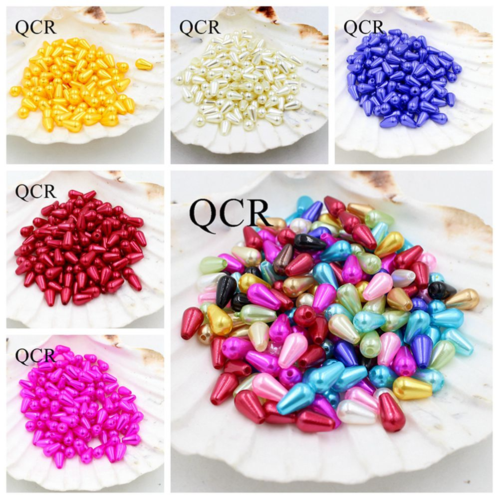 Multi-Colors 6*10mm 100Pcs/Lot ABS Double Hole Tear Drop Beads Imitation Pearls Beads For Jewelry Making Indian Beads