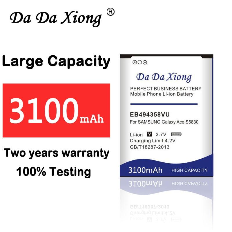 3100mAh EB494358VU batería para Samsung Galaxy Ace 5830 S6802 B7510 i569 i579...