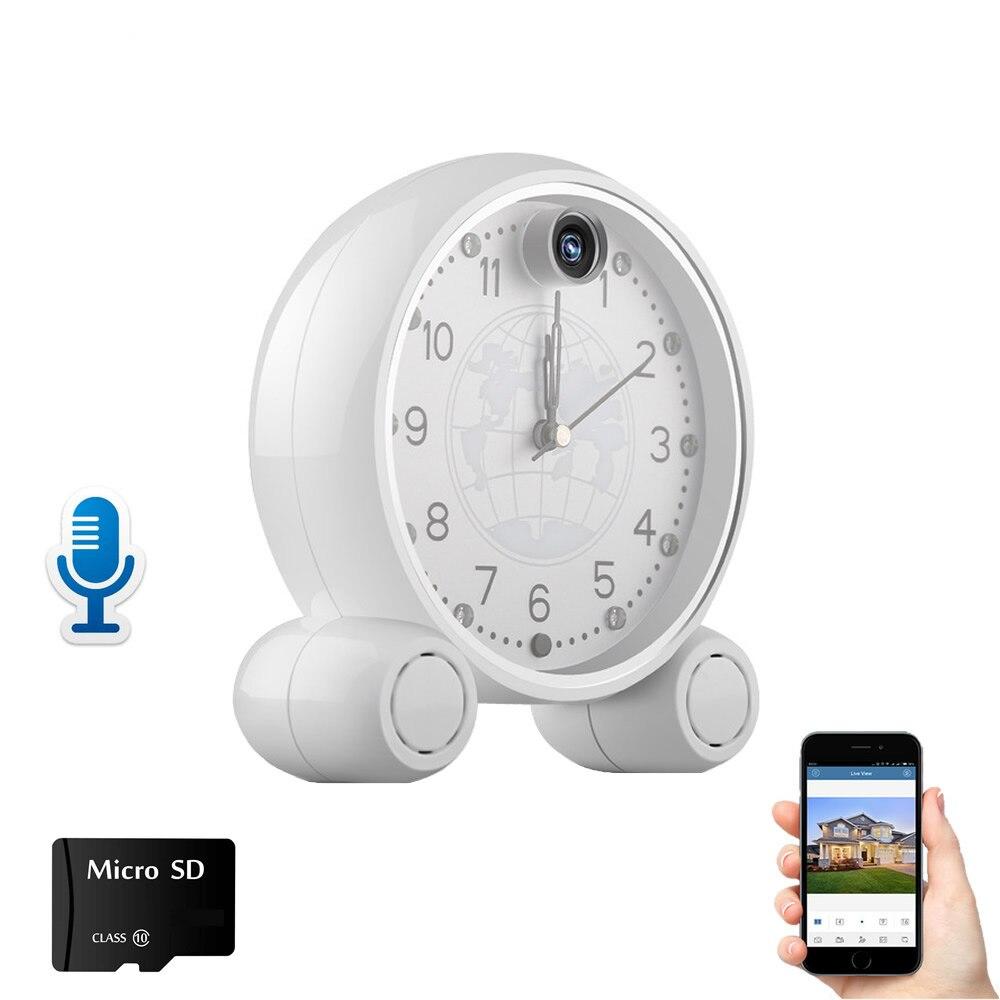 Cámara de seguridad del hogar IP reloj Wifi 1080P cámara de red inalámbrica Almacenamiento de tarjeta TF P2P soporte movimiento detct