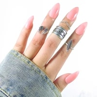 jewdy 4pcsset boho wings midi finger ring set vintage punk carved knuckle feather rings for women anillos party jewelry