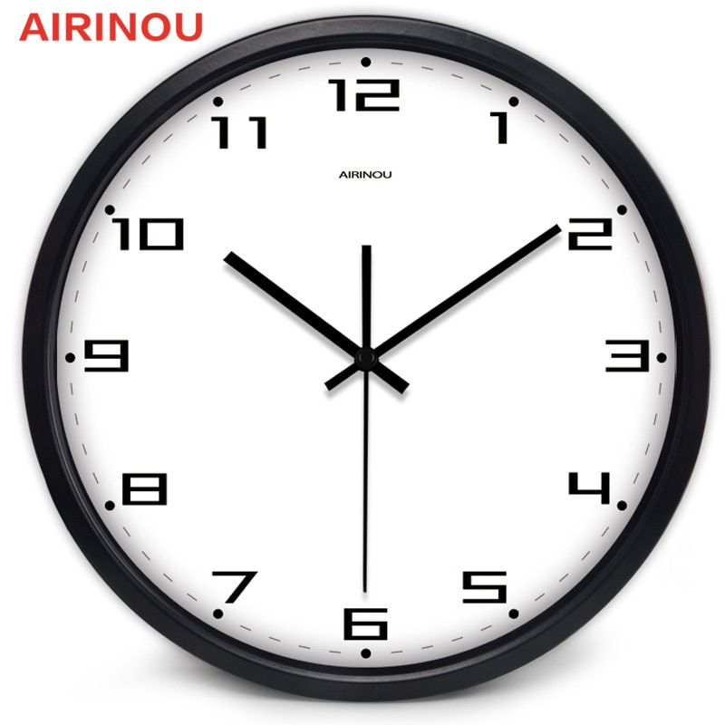 Airinou 10 pulgadas Reloj de pared 25cm descuento negro Fram Escritorio de promoción Oficina estudio Simple