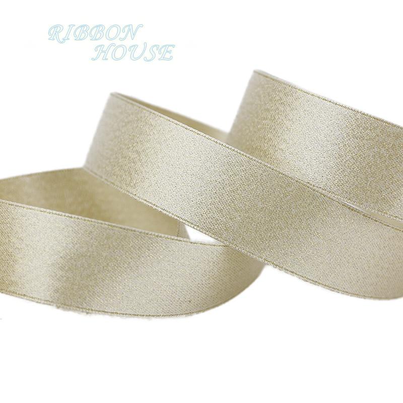 (5 metros/lote) cinta de satén de doble cara dorado brillante blanco de 25mm cinta de regalo de flores decoración para fiesta de boda cintas