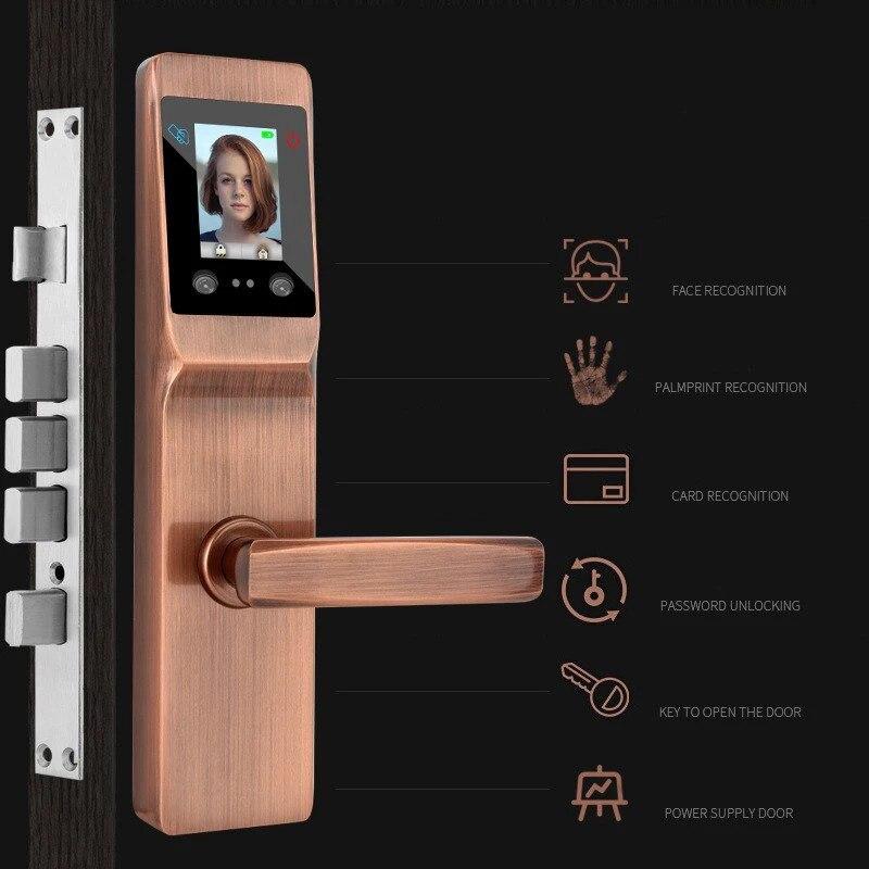 Reconocimiento facial biométrico inteligente, con desbloqueo Cerradura para puerta en la palma, cerradura Digital de seguridad con huellas dactilares con contraseña, llave mecánica, tarjeta RFID