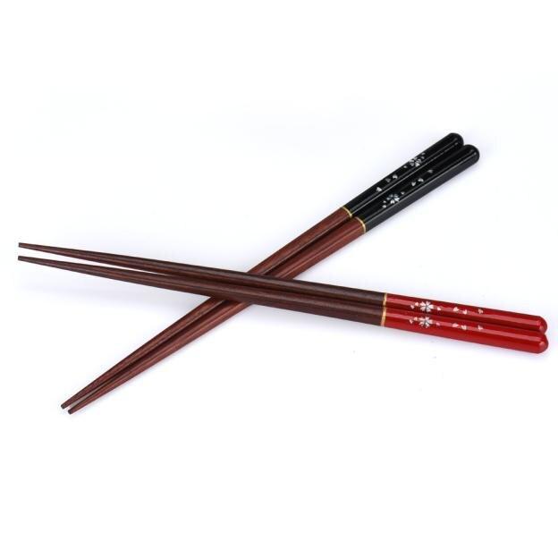 Palillos chinos naturales japoneses Juego de 2 pares juego de palillos de madera hechos a mano japoneses vajilla de regalo palillos K606