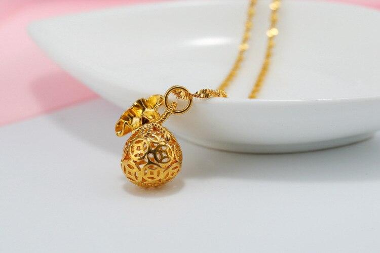 Счастливое моделирование золота имитация золота стереоскопический мешок денег кулон ожерелье полый геометрический круглый монета ожерел...